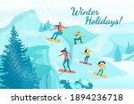 five membered active family ... | Shutterstock .eps vector #1894236718
