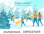walk in winter forest with... | Shutterstock .eps vector #1894237645