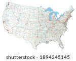 complex usa road map with... | Shutterstock .eps vector #1894245145