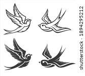 cartoon flying monochrome... | Shutterstock .eps vector #1894295212