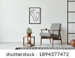 Small photo of Stylish scandinavian composition of living room with design armchair, black mock up poster frame, plant, wooden stool, book, decoration, loft wall and personal accessories in modern home decor.