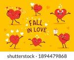 vector set of red happy heart... | Shutterstock .eps vector #1894479868