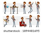 cartoon flat funny bearded... | Shutterstock .eps vector #1894481695