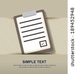 clipboard list paper icon  | Shutterstock .eps vector #189452948