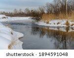 Frozen River In Winter. White...