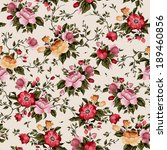 Seamless floral pattern with of roses on light background, watercolor. Vector illustration. - stock vector