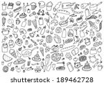food hand drawn cartoon set | Shutterstock .eps vector #189462728