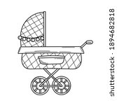 vector doodle baby pram in... | Shutterstock .eps vector #1894682818