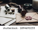 Letter seal with wax seal stamp ...