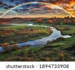 Amazing Rainbow Over The Small...