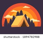 camping site on evening sunset... | Shutterstock .eps vector #1894782988