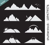 set of mountain icons on black... | Shutterstock .eps vector #189479576