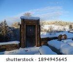 Old Wooden Door Full Of Snow In ...