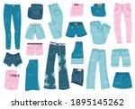 jeans clothes. denim trousers ... | Shutterstock . vector #1895145262