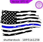 scratched thin blue line us... | Shutterstock .eps vector #1895161258