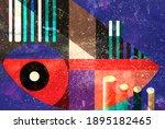 color watercolor retro... | Shutterstock . vector #1895182465