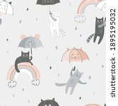 funny black white grey cat with ... | Shutterstock .eps vector #1895195032
