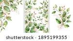 Set Of Watercolor Floral Frame...