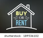 Buy or Rent, written on blackboard. Vector Illustration.