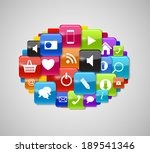 glass button icon set speech... | Shutterstock .eps vector #189541346