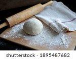 Fresh Pasta Dough On Wooden...