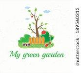 illustration garden with tree ... | Shutterstock .eps vector #189560312