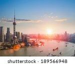 shanghai skyline and huangpu river in a beautiful dusk scene