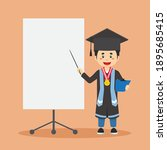 graduated student with blank...   Shutterstock .eps vector #1895685415