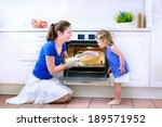 young happy mother and her... | Shutterstock . vector #189571952