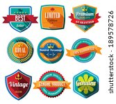 Set of retro vintage badges and labels 03. Flat design with long shadow .eps10  - stock vector