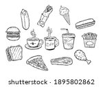 delicious fast foods. hand...   Shutterstock .eps vector #1895802862