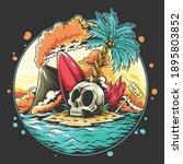 summer skull head on the beach... | Shutterstock .eps vector #1895803852