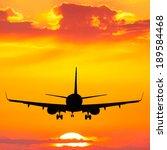 silhouette of plane flying up... | Shutterstock . vector #189584468