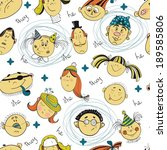 seamless pattern with cartoon... | Shutterstock .eps vector #189585806