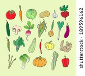 set of hand drawn vegetables.... | Shutterstock . vector #189596162
