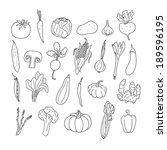set of hand drawn vegetables.... | Shutterstock . vector #189596195