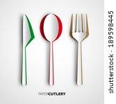 papercut cutlery  vector...   Shutterstock .eps vector #189598445