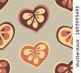 Brown Flower Heart Seamless...