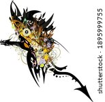 winged dragon symbol colorful... | Shutterstock .eps vector #1895999755