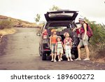 three little kids and mother in ... | Shutterstock . vector #189600272