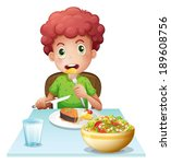 illustration of a boy eating on ... | Shutterstock .eps vector #189608756