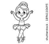 cute cartoon ballerina girl on...   Shutterstock .eps vector #1896110695