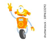 funny robot showing victory or... | Shutterstock .eps vector #189613292