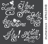 cute hand drawn phrases in... | Shutterstock .eps vector #189613448