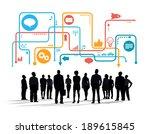 silhouettes of multiethnic...   Shutterstock . vector #189615845