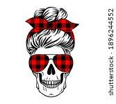female skull with aviator... | Shutterstock .eps vector #1896244552