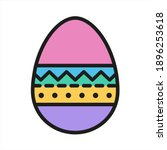 easter egg color flat icon with ...