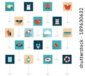 set of summer flat icon. vector ...