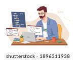 male personage concentrated at...   Shutterstock .eps vector #1896311938