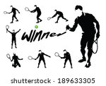 tennis players silhouettes... | Shutterstock .eps vector #189633305